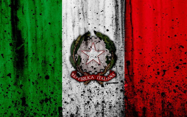 Download wallpapers Italian flag, 4k, grunge, flag of Italy, Europe, Italy, national symbolism, coat of arms of Italy, Italian coat of arms