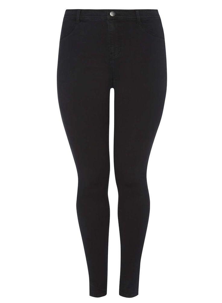 Womens DP Curve Plus Size Black Fly Front Jeggings- Black