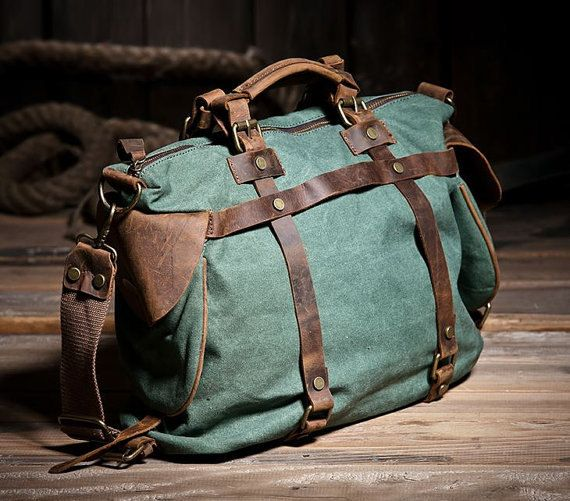 Large Green Canvas Leather Duffle Travel Bag / by leeloongstudio, $65.00
