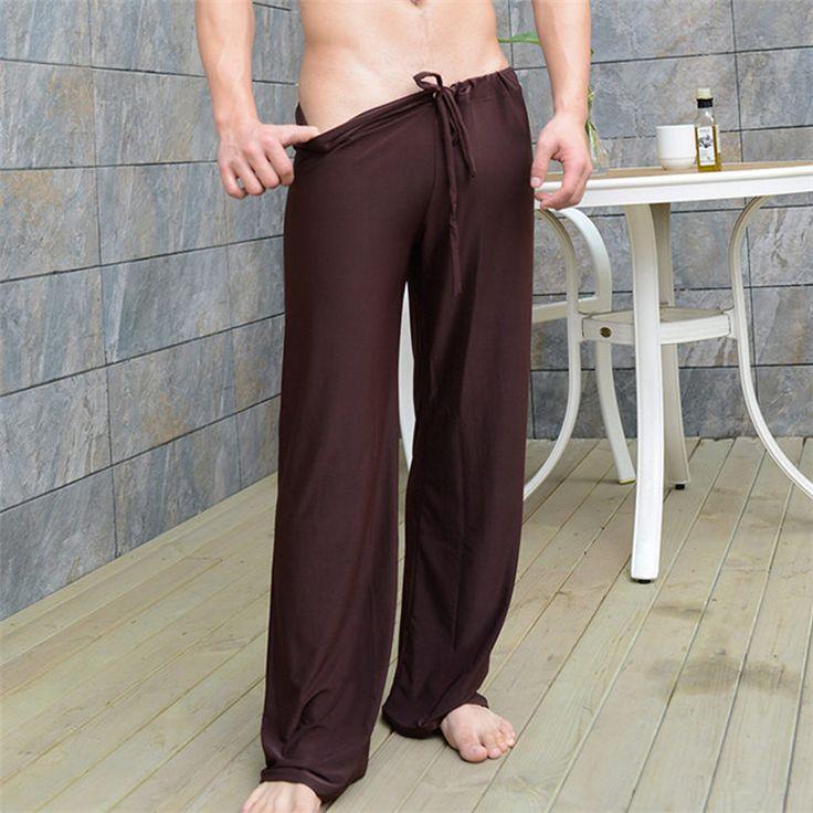New Arrival Silk Casual Loose Mens Sleep Pants Bottoms Leisure Sexy Sleepwear Long Panties Senza Fretta