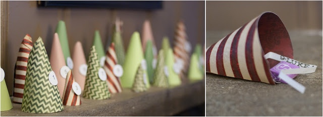 Advent Tree Forest:  Simply roll scrapbook paper into cones, number, and fill with a scripture verse and a treat.  Enjoy family advent each day and help your kids focus on the TRUE meaning of Christmas!
