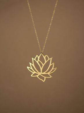 Lotus Halskette - gold Lotus Blume Halskette - blühende Blume - Lotus…