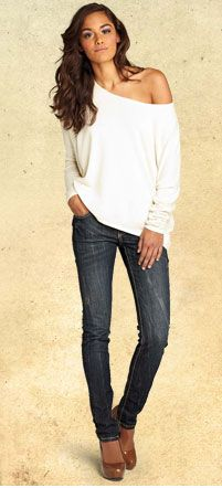Cozy off the shoulder sweater and dark wash jeans. Love it!