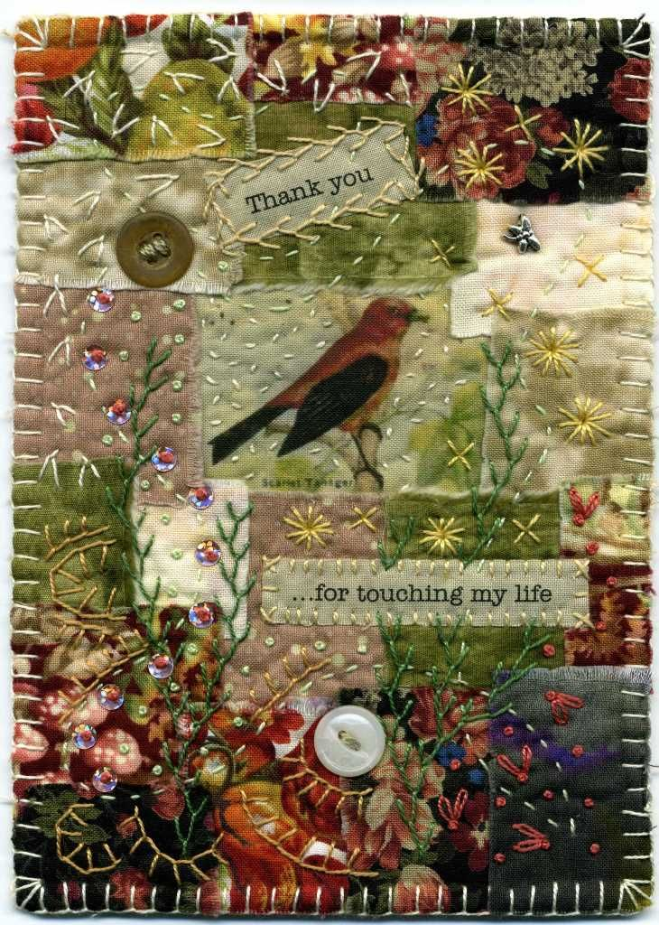 Fussy-cut elements such as flowers and leaves, birds or other creatures, photos, words/type. Embroidery embellishment. Crazy-quilt inspired… B--aumcat: To you...
