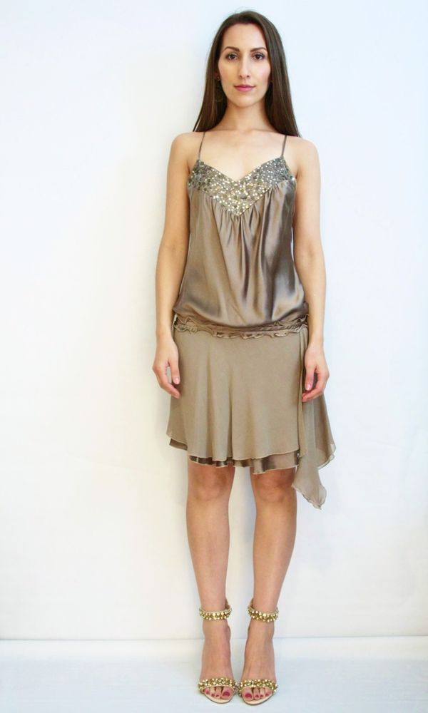 TRUESE Amazonia Dress Silk Embellished Sequins Drop Waist Cocktail Frock Size 10  | eBay