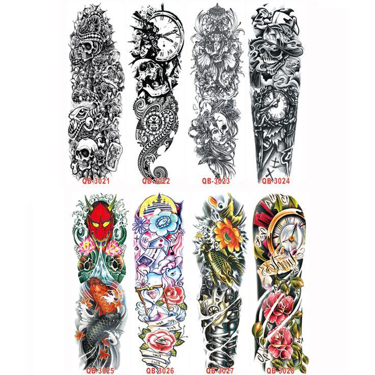 3 UNID Manga Del Tatuaje Temporal Diseña Brazo Completo Impermeable Tatuajes Para Los Hombres Frescos Mujeres Transferibles Tatuajes Pegatinas En El Cuerpo arte