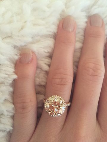 5.0 Champagne Diamond Engagement Ring in Rose Gold.