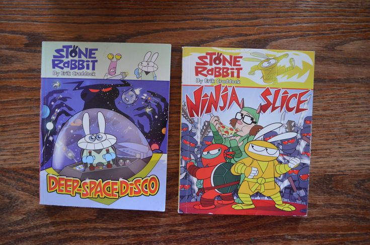 Stone Rabbit: Full colour graphic novels that chronicles the zany of adventures of a quick-tempered and quick-witted young rabbit. $5 for both. Grade 3 reading level.