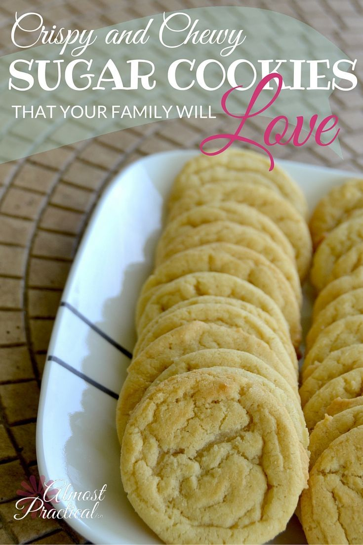 Use this easy sugar cookie recipe to whip up cookies that are crispy on the outside and chewy on the inside. Irresistible! via @AlmostPractical