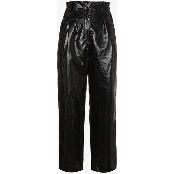 Philosophy Di Lorenzo Serafini Coated Linen Cropped Trousers ($890) ❤ liked on Polyvore featuring pants, capris, black, cropped trousers, linen trousers, crop length pants, philosophy di lorenzo serafini and linen pants