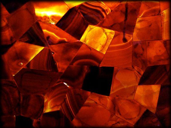 Jaccana | Red Agate Random Cut Stone Veneer on Plexiglass | Semiprecious Stone Tile & Slab