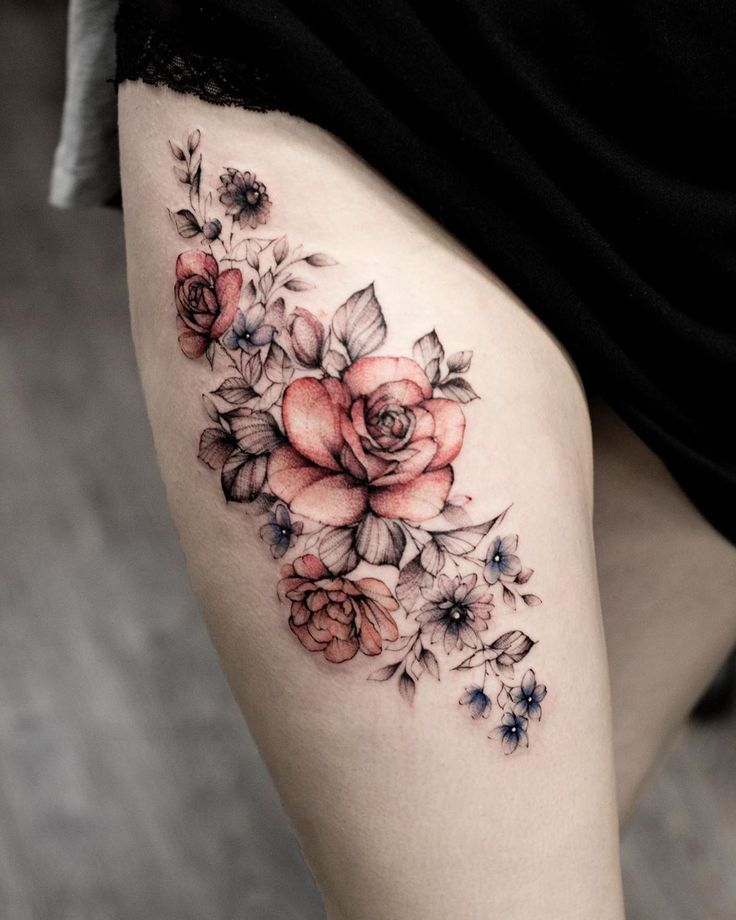 50+ Sweet Summer Colorful Flower Tattoo Designs Colorful