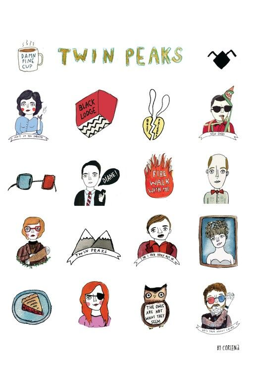 Twin peaks montage - cute but not as great as my cross stitch of 32 of the characters my best friend made for me