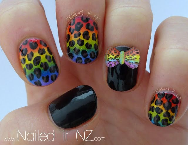 Nailed It NZ: Rainbow leopard-print nails!