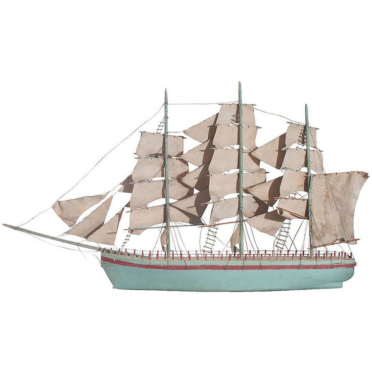 Blue Painted Model of a Sail Boat, French, early 20th C