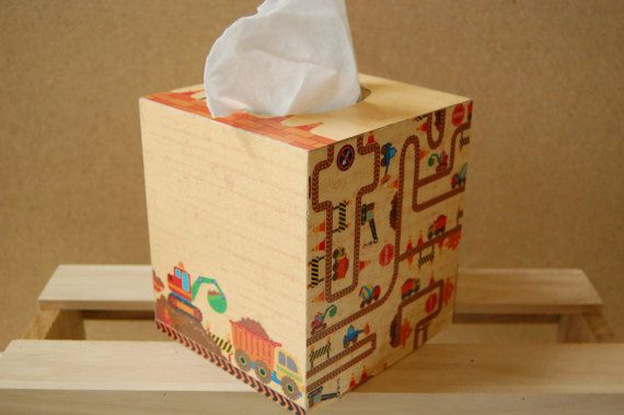 Construction Zone Tissue Box by PaperedWoods on Etsy || Perfect for a baby shower gift!