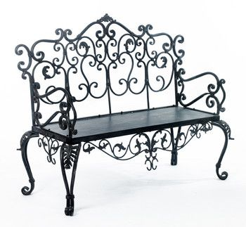 Ornate Hall scroll effect wrought iron Bench : Black Country Metalworks Ltd