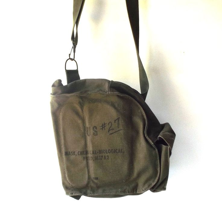 vintage 1990's army bag chemical mask biological shoulder carrying pouch military soldier us usa purse retro modern drab green olive womens by RecycleBuyVintage on Etsy