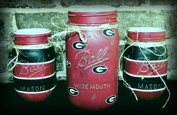 University of Georgia UGA bulldogs painted chalk paint mason jar candle holder set pint quart GO DAWGS!