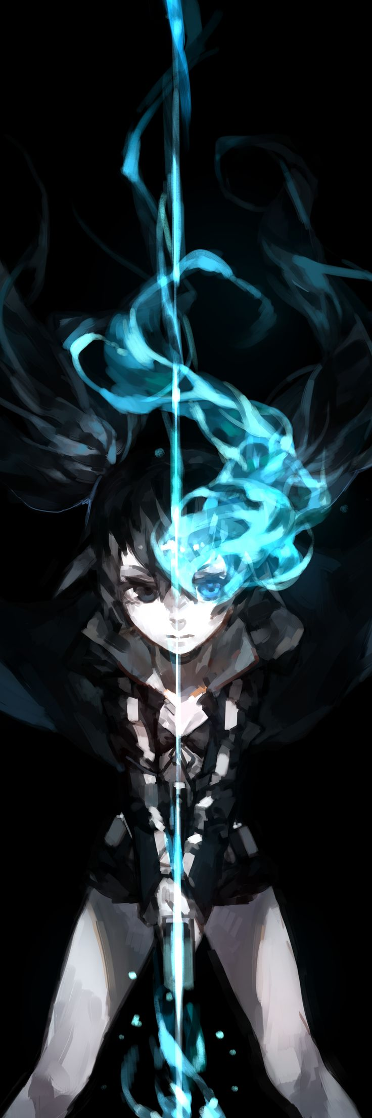 anime heterochromia / odd eyes black blue (Black★Rock Shooter)