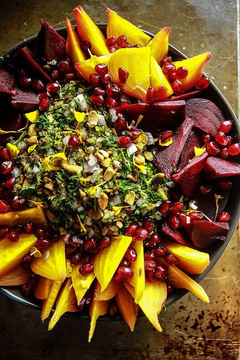 Beet Quinoa Salad with mint, pomegranate and pistachios from http://HeatherChristo.com