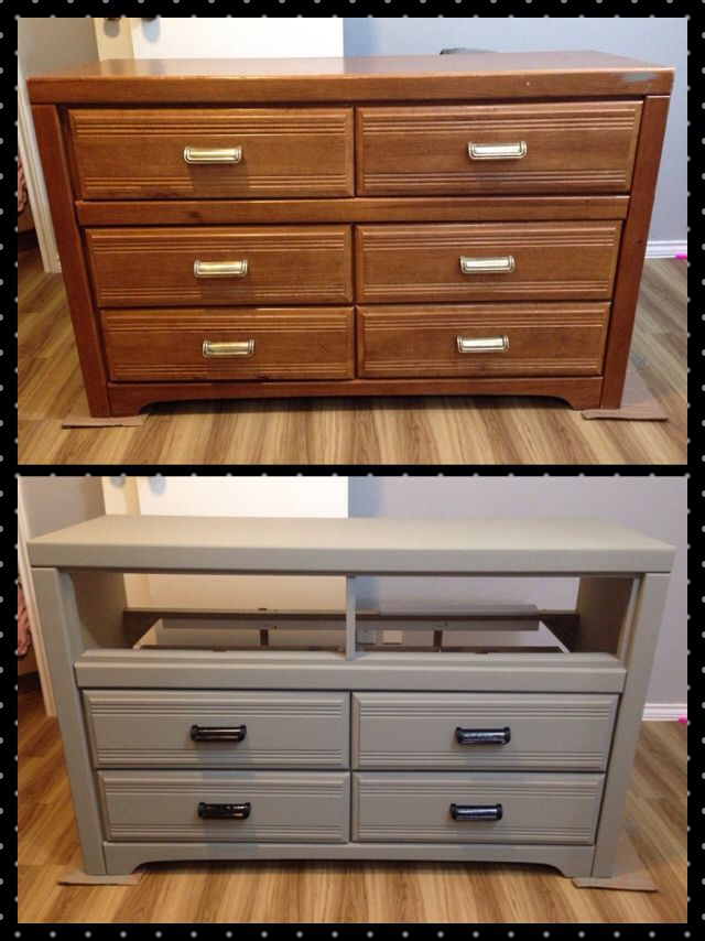 have an old dresser need an entertainment center a little bit of chalk paint - Home Decor Chalk Paint
