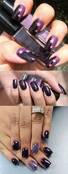 темно-фиолетовый нейл-арт