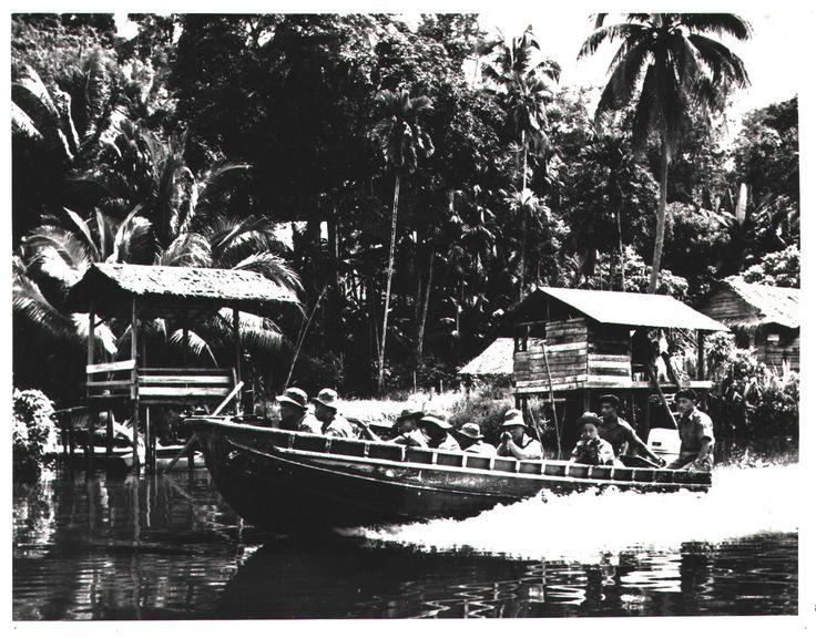 Gurkhas on river patrol, Borneo, 1960s