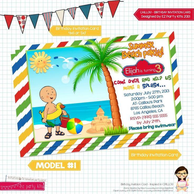 CAILLOU Printable Birthday Invitation Card Digital File Multi-Color ...