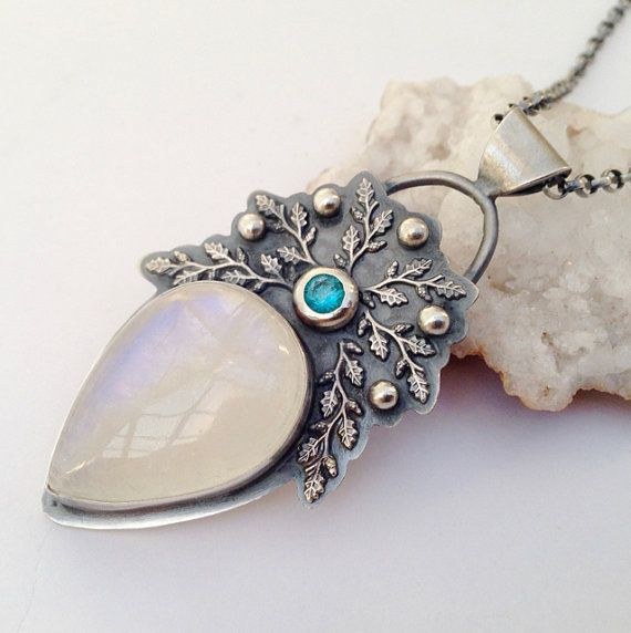 Rainbow Moonstone Necklace In a Vintage Style, Metalsmithed Necklace ,Silver Blue Topaz Necklace, Sterling Silver Necklace,Gemstone Pendant