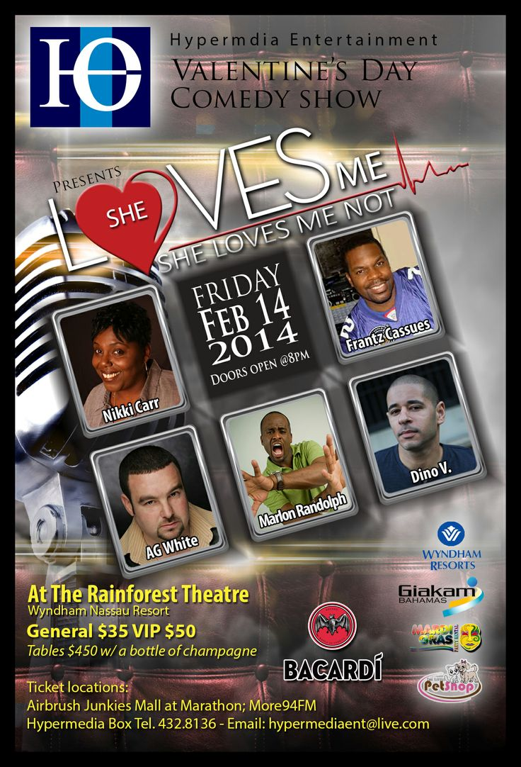 SHE LOVES ME SHE LOVES ME NOT IS HAPPENING THIS VALENTINES DAY AT THE RAIN FORREST THEATRE AT THE WYNDAM CRYSTAL PALACE. 5 COMEDIANS AND LOTS OF LAUGHS