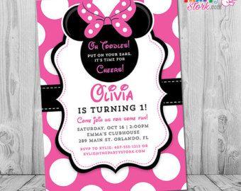 Minnie Mouse 3ème Invitation anniversaire par ThePartyStork sur Etsy