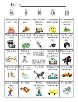 Get to Know You Bingo-great for the first day of school!