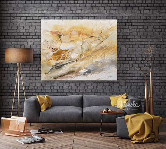 Marble World 2  Original large abstract ivory & amber