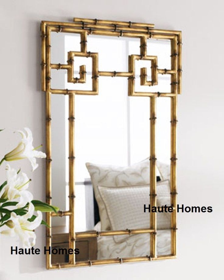 NEW HORCHOW ASIAN CHIPPENDALE PAGODA BAMBOO GREEK KEY Wall FOYER Mirror  #HAUTEHOMES #Asian