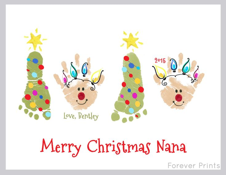 Made from your child's actual prints! Christmas footprint tree and handprint reindeer Wall ArtArt 308_pap