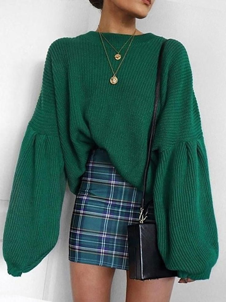 Amazing Solid Long Lantern Sleeve Casual Sweater