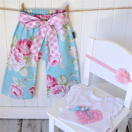 """Beautiful Blooms"" Harem Pants + embellished singlet sizes 00-2 Floral Gift Pink"