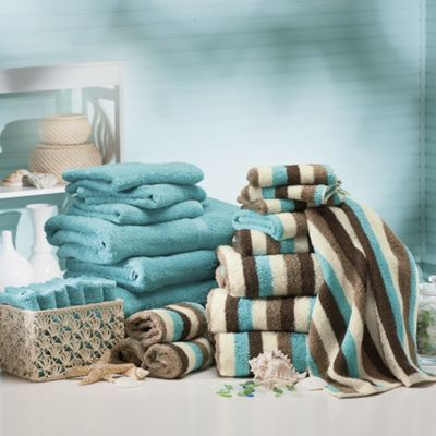 Seaside stripe towel set from Montgomery Ward