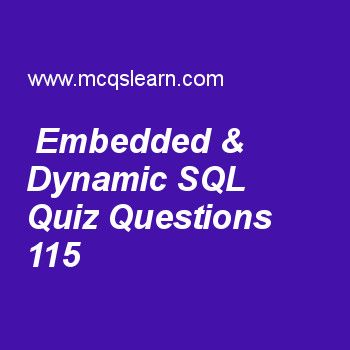 Practice embedded & dynamic sql quizzes, DBMS quiz 115 to learn. Free database management system MCQs questions and answers to learn embedded & dynamic sql MCQs with answers. Practice MCQs to test knowledge on embedded and dynamic sql, client server architecture, schemas instances and database state, uml class diagrams worksheets.  Free embedded & dynamic sql worksheet has multiple choice quiz questions as kind of iterator which lists types and names of attributes in result of query...