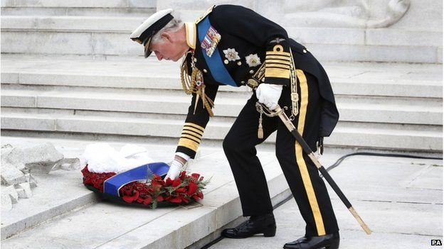 Prince Charles lays a wreath at the Cenotaph in George Square, Glasgow on the 100th Anniversary of the start of WW1. His Grandfather, then Prince Albert, served on the HMS Collingwood, and saw action at the inconclusive Battle of Juteland in May 1916. His father Prince Philip fought in the Navy during WW2 and the Queen joined the ATS at 18.