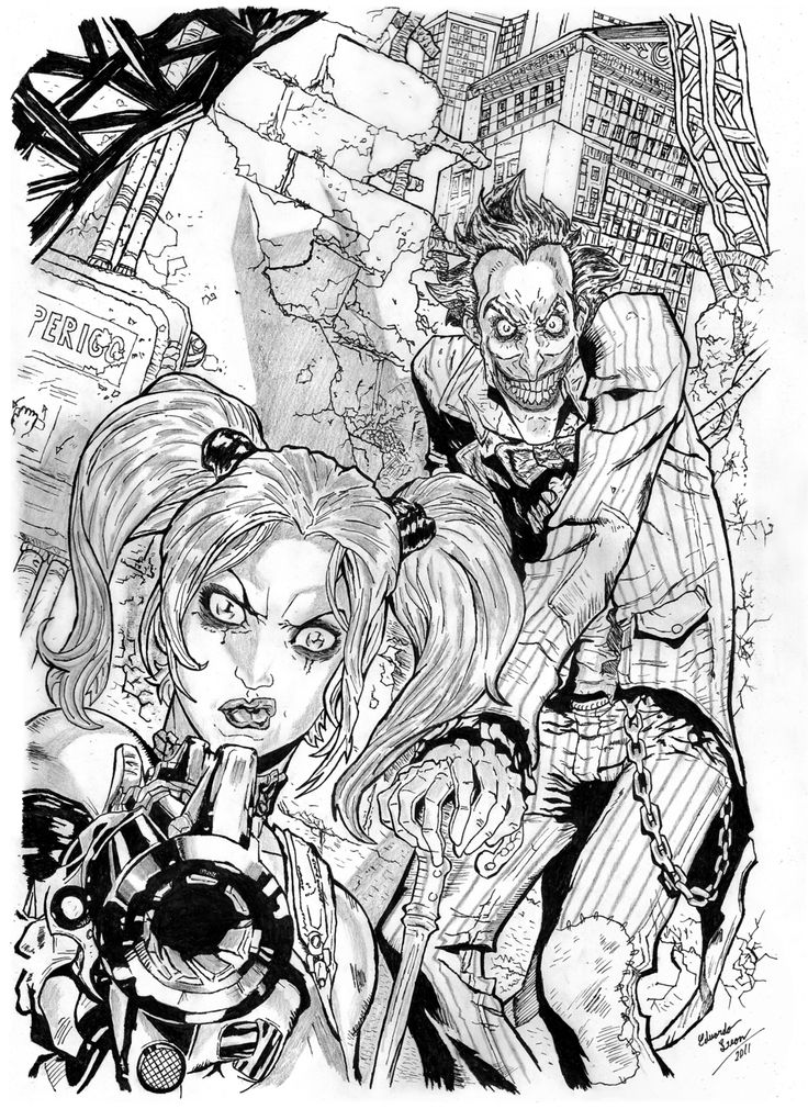 Harley Quinn And Joker Adult Coloring Pages Sheets