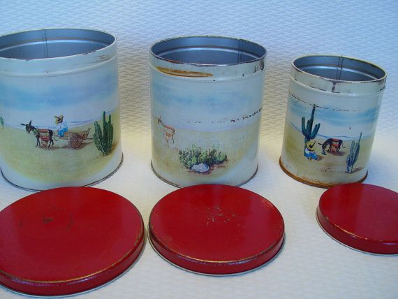 Set of 3 Old Reliable Coffee and Tea Canisters by GandTVintage, $30.00