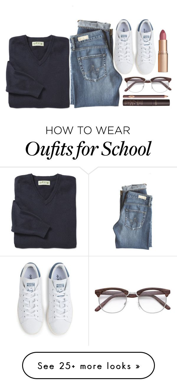 """""""School uniform"""" by vinpon on Polyvore featuring AG Adriano Goldschmied, adidas and Charlotte Tilbury"""