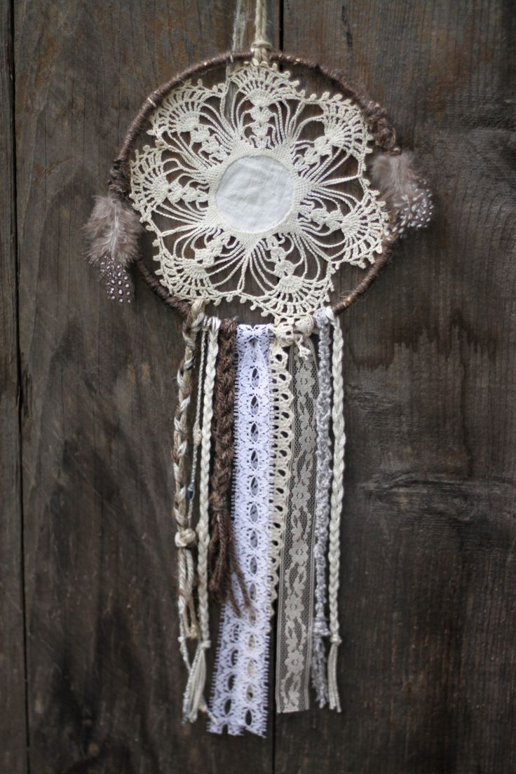 perfect for the teepee!! Handmade Lace Dream Catcher. $20.00, via Etsy.
