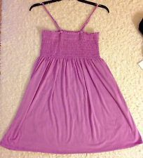 NWT Women's Smocked Knee High Dress Spaghetti Strap Purple Top Tunic Summer XL