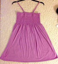 NWT Women's Smocked Knee High Dress Spaghetti Strap Purple Top Tunic Summer XL