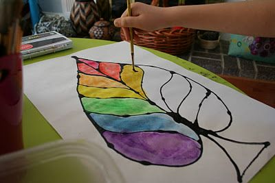 Pink and Green Mama: Easy Fall Kid Craft: Colored Glue Leaves With Watercolor Resist