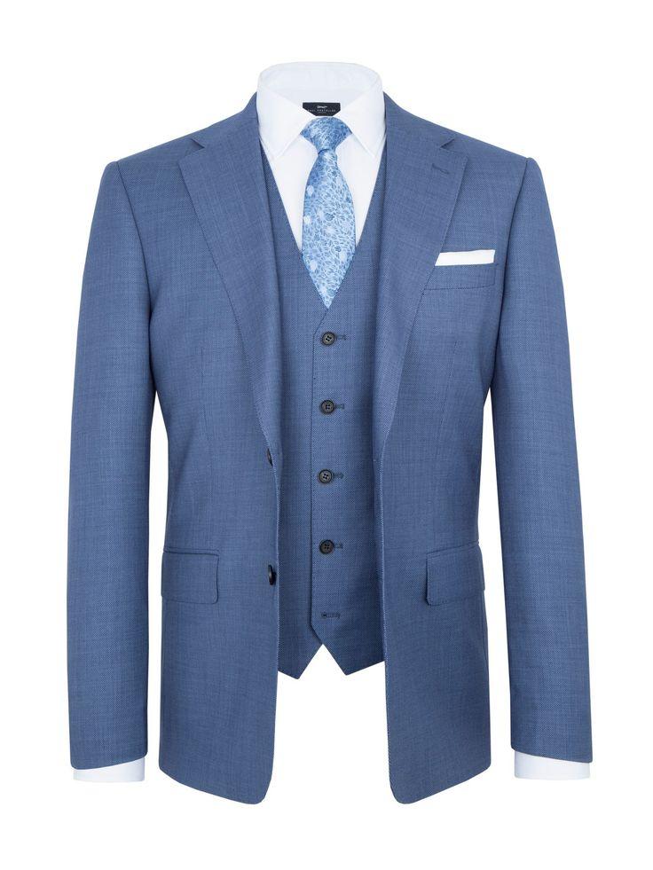 1920s Mens Clothing Mens Paul Costelloe Modern Fit Blue Birdseye Suit Jacket £160.30 AT vintagedancer.com