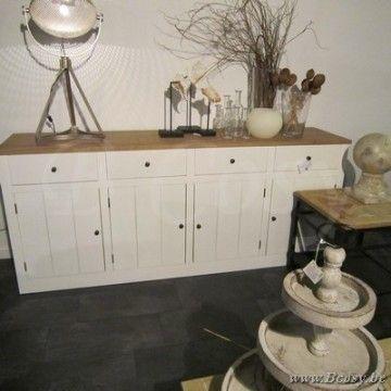 PR Interiors Alice dressoir in wit geschilderde eik en wheathered oak top blad 220